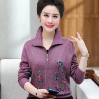 Middle aged and old women's wear fashion sweater easy singleton  Decor 50-59 years old Cardigan thickening Polo collar routine routine Embroidery 71% (inclusive) - 80% (inclusive) zipper