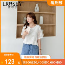 Women's large Summer 2021 white Large L Large XL Large XXL large XXL large XXL large XXXL shirt singleton  commute easy thin Socket Short sleeve shape Korean version Crew neck routine polyester Three dimensional cutting routine Lrosey / blue water 25-29 years old Lace stitching 96% and above