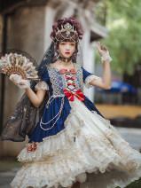 Dress Autumn of 2019 Bai Xueji (Mrs. Jia'er), Bai Xueji (Mrs. Jia'er) Small size [suitable for 70-100 kg], large size [suitable for 100-120 kg] Mid length dress singleton  Short sleeve Sweet Crew neck High waist Solid color Princess Dress routine Others Type A Bai Xueji Lolita Chiffon Lolita