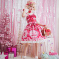 Dress Spring of 2019 Pink , white , red Average size Mid length dress singleton  Sleeveless Sweet Crew neck middle-waisted Solid color Princess Dress routine camisole Type A Others Lolita skirt Lolita