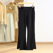Casual pants black S,M,L,XL Spring 2021 trousers Flared trousers Natural waist routine 91% (inclusive) - 95% (inclusive) ZCS15K001 Other / other polyester fiber