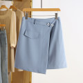 skirt Spring 2021 S,M,L,XL,2XL Black, blue Short skirt commute Natural waist Solid color Type A 71% (inclusive) - 80% (inclusive) Other / other Korean version