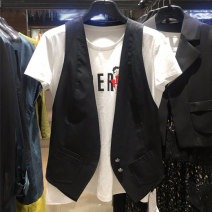 Vest Autumn of 2019 White, black 2 = s, 3 = m, 4 = L, 5 = XL routine V-neck commute Solid color Single breasted straps 35-39 years old Xgirdearst / heathy 51% (inclusive) - 70% (inclusive) cotton Pocket, button