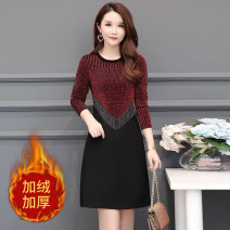 Dress Autumn 2020 Red, gold, black, black [thickened], gold [thickened], red [thickened], green 378 [thin], red 378 [thin], red 378 [thickened], green 378 [thickened] Mid length dress singleton  Long sleeves commute Crew neck Loose waist Socket other routine Others Type A Korean version other