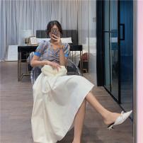 Fashion suit Summer 2021 S. M, average + s, average + m, average Blue knitting, white skirt, blue knitting + white skirt 25-35 years old