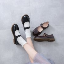 Low top shoes 35,36,37,38,39 Other / other Black, dark brown Round head PU Flat bottom Low heel (1-3cm) Shallow mouth PU Autumn 2020 Flat buckle solar system Adhesive shoes Youth (18-40 years old) Solid color rubber Single shoes PU daily Face dressing