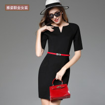 Dress Spring 2017 Black short sleeves, Black Medium sleeves S,M,L,XL,2XL,3XL Middle-skirt singleton  elbow sleeve commute V-neck middle-waisted Solid color Socket One pace skirt routine Others 25-29 years old Type X Ol style 81% (inclusive) - 90% (inclusive) acrylic fibres