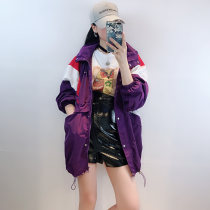 short coat Fall of 2018 S M L Royal Purple deep sapphire blue Long sleeve conventional conventional Single Straight conventional Wild Hooded other