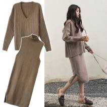 Dress Other / other Black, camel M,L,XL,XXL Korean version Long sleeves Medium length autumn High collar Solid color Pure cotton (95% and above)