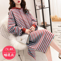 Nursing clothes Red, yellow, black M,L,XL,2XL Other / other Socket spring and autumn Long sleeves Medium length Korean version Dress stripe Lift up