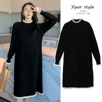 Dress Other / other black M,L,XL,XXL Korean version Long sleeves have more cash than can be accounted for autumn High collar Solid color