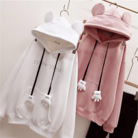 Sweater / sweater Autumn 2021 White, purple, pink M,L,XL,2XL Long sleeves routine Socket singleton  Plush Hood easy Sweet routine Cartoon animation 18-24 years old 31% (inclusive) - 50% (inclusive) cotton B4 printing polyester fiber college