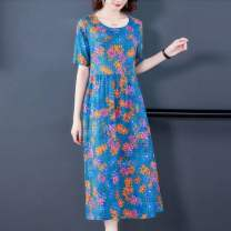 Dress Summer 2021 Yellow pink flower on blue background, white vest M,L,XL,2XL,3XL,4XL Mid length dress singleton  Short sleeve commute Crew neck Decor Socket other 18-24 years old Type A Korean version 31% (inclusive) - 50% (inclusive) cotton