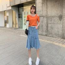 skirt Summer 2021 S,M,L,XL Denim skirt, orange top Mid length dress Versatile High waist Ruffle Skirt Solid color Type A 81% (inclusive) - 90% (inclusive) other Pocket, button, zipper, stitching