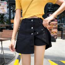 Jeans Summer of 2019 White, black S [90-100 kg], m [100-110 kg], l [110-120 kg], XL [120-135 kg], 2XL [135-150 Jin], 3XL [150-165 kg], 4XL [165-175 Jin], 5XL [175-200 Jin] shorts High waist Wide legged trousers routine 18-24 years old light colour Coardiarn / Kuandian