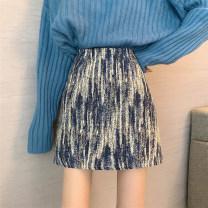 skirt Winter 2020 S 85-100kg, m 100-110kg, l 110-120kg, XL 120-135kg, 2XL 135-150kg, 3XL 150-165kg, 4XL 165-175kg, 5XL 175-200kg Blue, black Short skirt commute High waist A-line skirt Solid color Type A 25-29 years old 30% and below Wool polyester fiber zipper Retro