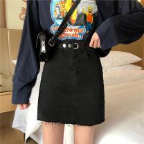 skirt Summer 2020 S (90-100 Jin), m (100-110 Jin), l (110-120 Jin), XL (120-135 Jin), 2XL (135-150 Jin), 3XL (150-165 Jin), 4XL (165-175 Jin), 5XL [175-200 Jin] Light blue, black Short skirt commute High waist A-line skirt Type A 18-24 years old Denim Coardiarn / Kuandian Korean version