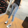 Jeans Spring 2021 Ninth pants High waist Straight pants routine Coardiarn / Kuandian