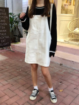 Dress Summer of 2019 Black, beige S [90-100 kg], m [100-110 kg], l [110-120 kg], XL [120-135 kg], 2XL [135-150 Jin], 3XL [150-165 kg], 4XL [165-175 Jin], 5XL [175-200 Jin] Short skirt singleton  Sleeveless commute High waist Solid color Socket other straps 18-24 years old Type H Korean version straps