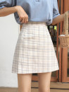 skirt Summer 2020 S [90-100kg], m [100-110kg], l [110-120kg], XL [120-135kg], 2XL [135-150kg], 3XL [150-165kg], 4XL [165-175kg], 5XL [175-200kg] Apricot, pink, blue Short skirt commute High waist A-line skirt lattice Type A 18-24 years old other Old, button Retro