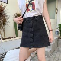 skirt Summer 2020 S [90-100 Jin], m [100-110 Jin], l [110-120 Jin], XL [120-135 Jin], 2XL [135-150 Jin], 3XL [150-165 Jin], 4XL [165-175 Jin], 5XL [175-200 Jin] dark grey Short skirt commute High waist A-line skirt Type A 18-24 years old Denim Coardiarn / Kuandian Korean version