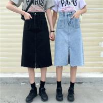 skirt Spring 2020 S [90-100kg], m [100-110kg], l [110-120kg], XL [120-135kg], 2XL [135-150kg], 3XL [150-165kg], 4XL [165-175kg], 5XL [175-200kg] Blue, black Short skirt commute High waist A-line skirt Type A 18-24 years old 51% (inclusive) - 70% (inclusive) Denim Coardiarn / Kuandian Korean version