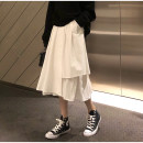 skirt Spring 2020 S [90-100kg], m [100-110kg], l [110-120kg], XL [120-135kg], 2XL [135-150kg], 3XL [150-165kg], 4XL [165-175kg], 5XL [175-200kg] White, black Mid length dress commute High waist Irregular Solid color Type A 18-24 years old 30% and below other pocket Korean version
