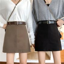 skirt Winter 2020 S [85-100 Jin], m [100-110 Jin], l [110-120 Jin], XL [120-135 Jin], 2XL [135-150 Jin], 3XL [150-165 Jin], 4XL [165-175 Jin], 5XL [175-200 Jin] Black collection pays attention to belt, brown collection pays attention to belt Short skirt Versatile High waist A-line skirt Solid color