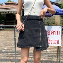 skirt Summer of 2019 S (90-100 Jin), m (100-110 Jin), l (110-120 Jin), XL (120-135 Jin), 2XL (135-150 Jin), 3XL (150-165 Jin), 4XL (165-175 Jin), 5XL [175-200 Jin] Light blue with belt, dark gray with belt Short skirt commute High waist A-line skirt Type A 18-24 years old Denim Coardiarn / Kuandian