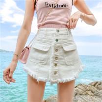Jeans Summer of 2019 S [90-100 kg], m [100-110 kg], l [110-120 kg], XL [120-135 kg], 2XL [135-150 Jin], 3XL [150-165 kg], 4XL [165-175 Jin], 5XL [175-200 Jin] shorts High waist Wide legged trousers routine 18-24 years old light colour Coardiarn / Kuandian