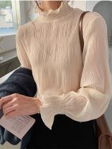 Women's large Spring 2020 Brown, black, apricot M [85-105 kg], l [105-120 kg], XL [120-140 kg], 2XL [140-160 kg], 3XL [160-180 kg], 4XL [180-200 kg] singleton  commute easy moderate Socket Long sleeves Solid color Korean version Half high collar Medium length pagoda sleeve 18-24 years old