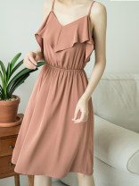 Dress Spring of 2019 Black, meat pink S,M,L Middle-skirt singleton  Sleeveless commute One word collar High waist Solid color Socket other Flying sleeve camisole 18-24 years old Type X hacolynn lady L9050 More than 95% other polyester fiber