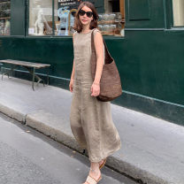 Dress Summer of 2019 Blue, camel S,M,L,XL,2XL longuette singleton  Sleeveless commute Crew neck Loose waist Solid color Socket other other Others 30-34 years old Type A Other / other Asymmetry 81% (inclusive) - 90% (inclusive) other hemp