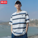 T-shirt Youth fashion Blue and white stripes, black and white stripes routine XL,2XL,L,M Han Lu Short sleeve Crew neck easy Other leisure summer H1008 youth routine other 2021 stripe Assembly Sea soul