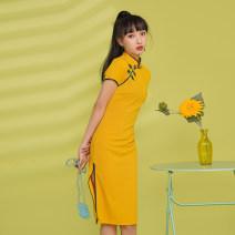 cheongsam Summer 2021 S,M,L,XL Lemon yellow Short sleeve High slit 18-25 years old Piping A507