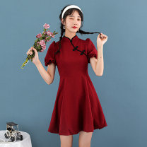 cheongsam Summer 2021 S,M,L,XL Red, black Short sleeve Short cheongsam Retro No slits daily Oblique lapel Solid color 18-25 years old Piping polyester fiber 51% (inclusive) - 70% (inclusive)