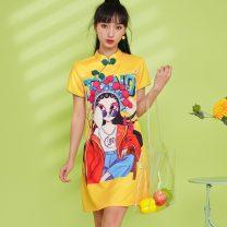 cheongsam Summer 2021 S,M,L,XL,2XL Lemon yellow, light blue Short sleeve Short cheongsam Low slit character 18-25 years old Piping A508 polyester fiber