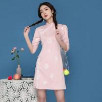 cheongsam Spring 2021 S,M,L Pink Short sleeve Short cheongsam daily Straight front 18-25 years old 8701#