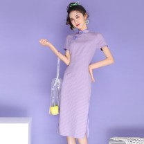 cheongsam Summer 2021 S,M,L,XL violet Short sleeve long cheongsam ethnic style Low slit daily Oblique lapel lattice 18-25 years old Piping A190# cotton