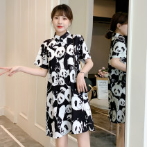 cheongsam Summer 2021 XXL,M,L,XL black Short sleeve ethnic style daily Oblique lapel Decor 18-25 years old Piping Other / other cotton