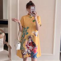 cheongsam Summer 2021 XXL,XXXL,M,L,XL,4XL yellow Short sleeve Short cheongsam ethnic style No slits daily Oblique lapel Decor 25-35 years old Piping cotton 96% and above