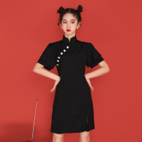cheongsam Summer 2021 S,M,L,XL black Short sleeve Short cheongsam Retro Low slit daily Oblique lapel Solid color 18-25 years old Piping Brocade 51% (inclusive) - 70% (inclusive)