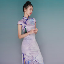 cheongsam Summer 2021 XXL,S,M,L,XL Picture color Short sleeve long cheongsam ethnic style High slit Oblique lapel Decor 18-25 years old cotton 81% (inclusive) - 90% (inclusive)