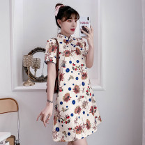 cheongsam Summer 2021 M,L,XL,2XL,3XL,4XL Apricot Short sleeve Short cheongsam ethnic style No slits daily Oblique lapel Animal design 18-25 years old Piping cotton 96% and above