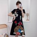 cheongsam Summer 2021 XXL,XXXL,M,L,XL,4XL black Short sleeve Short cheongsam grace No slits daily Oblique lapel lattice 18-25 years old Piping cotton 96% and above