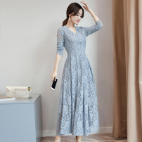 Dress Autumn 2020 Milky white, light blue, pink, black M,L,XL,2XL longuette singleton  Long sleeves commute V-neck middle-waisted Solid color Socket other other Others 25-29 years old Type A Classic sisters Korean version DSD-1F-10(2932) 81% (inclusive) - 90% (inclusive) Lace polyester fiber