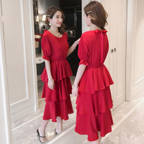 Dress Summer of 2019 White, red M,L,XL,2XL Mid length dress singleton  Short sleeve commute Crew neck Elastic waist Solid color Socket Princess Dress Korean version More than 95% Chiffon Cellulose acetate