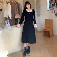 Dress Spring 2021 Black [lactation] 3812, black [regular] 2812 M,L,XL,2XL longuette singleton  Long sleeves commute Polo collar High waist Solid color Socket A-line skirt routine Type A Korean version Button More than 95% knitting polyester fiber