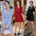 Dress Autumn of 2019 Red, blue, black M,L,XL,2XL Mid length dress singleton  Long sleeves commute V-neck middle-waisted Solid color Single breasted Princess Dress routine Korean version More than 95% Crepe de Chine Cellulose acetate