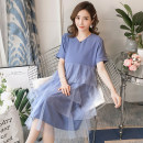 Dress Summer 2020 Blue, apricot M,L,XL,2XL Mid length dress Fake two pieces Short sleeve commute Crew neck Loose waist Solid color Socket Princess Dress routine Korean version More than 95% brocade nylon